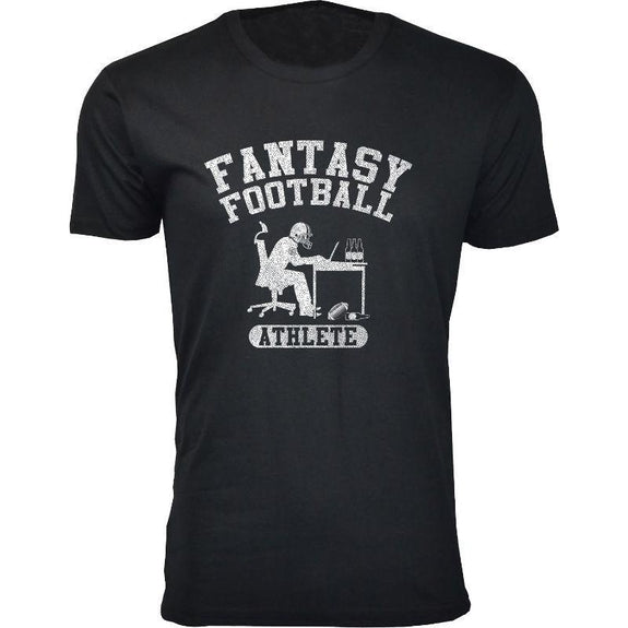 Men's Best Fantasy Football T-Shirts-Fantasy Football Athlete - Black-S-Daily Steals