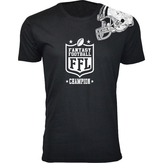 Men's Best Fantasy Football T-Shirts-Fantasy Football Champion - Black-S-Daily Steals