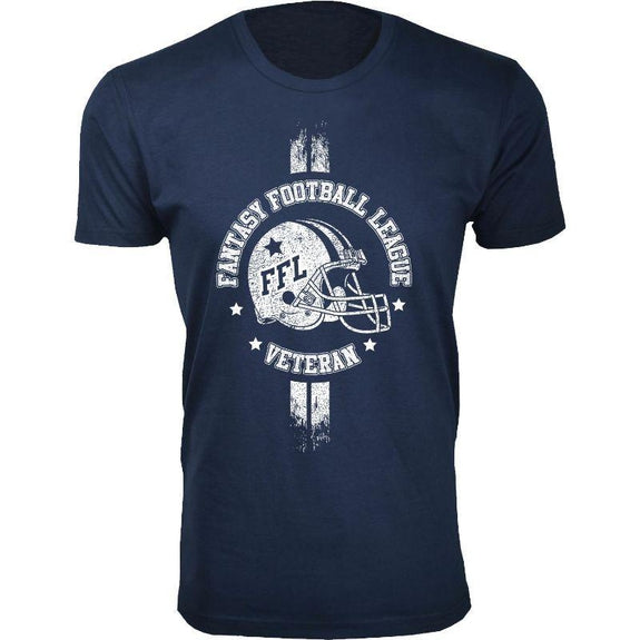 Men's Best Fantasy Football T-Shirts-Fantasy Football League Vet - Navy-3XL-Daily Steals