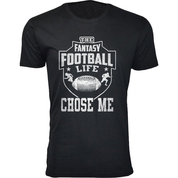 Men's Best Fantasy Football T-Shirts-FF Life Chose Me - Black-S-Daily Steals