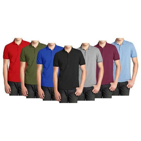 Daily Steals-Men's Comfort Poly Tech Pique Polo Shirt - 5 Pack-Men's Apparel-Black - Heather Grey - Navy - Light Blue - Burgundy-Medium-