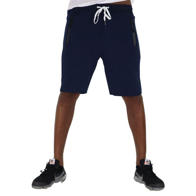 Men's Cotton Sweat Shorts with Front Zipper Pocket + Back Button Pocket-Navy-XL-