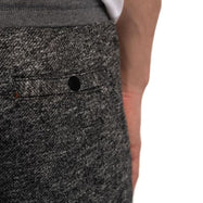 Men's Cotton Sweat Shorts with Front Zipper Pocket + Back Button Pocket-Charcoal-S-