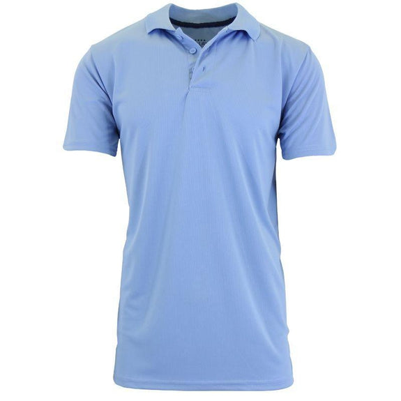 Men's Dry Fit Moisture Wicking Polo Shirt-Light Blue-L-Daily Steals