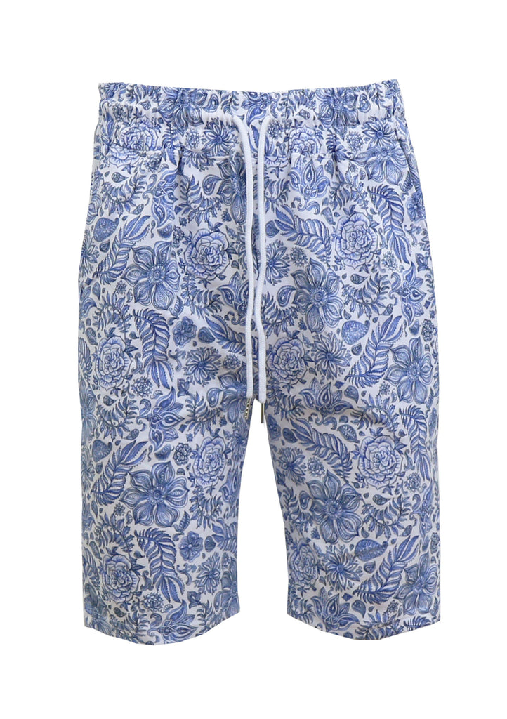 Daily Steals-Men's Fashion Printed French Terry Shorts-Men's Apparel-Blue Flower-Small-