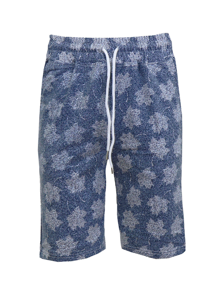 Daily Steals-Men's Fashion Printed French Terry Shorts-Men's Apparel-Blue Palm-Small-