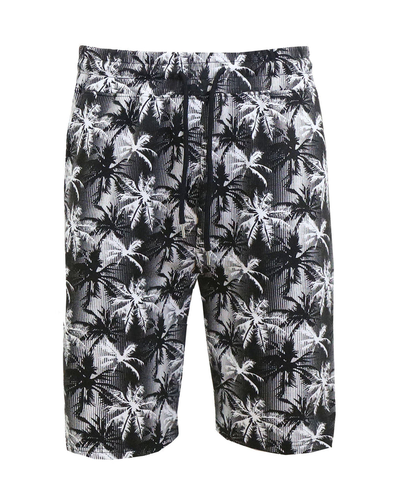 Daily Steals-Men's Fashion Printed French Terry Shorts-Men's Apparel-Charcoal-White Tree-Small-