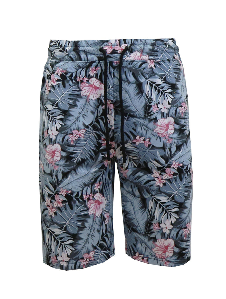 Daily Steals-Men's Fashion Printed French Terry Shorts-Men's Apparel-Hawaiian Grey-Medium-