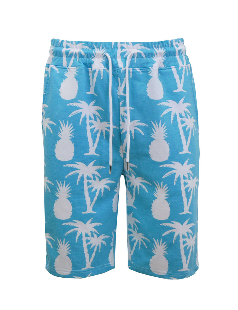 Daily Steals-Men's Fashion Printed French Terry Shorts-Men's Apparel-White Pineapple-Small-