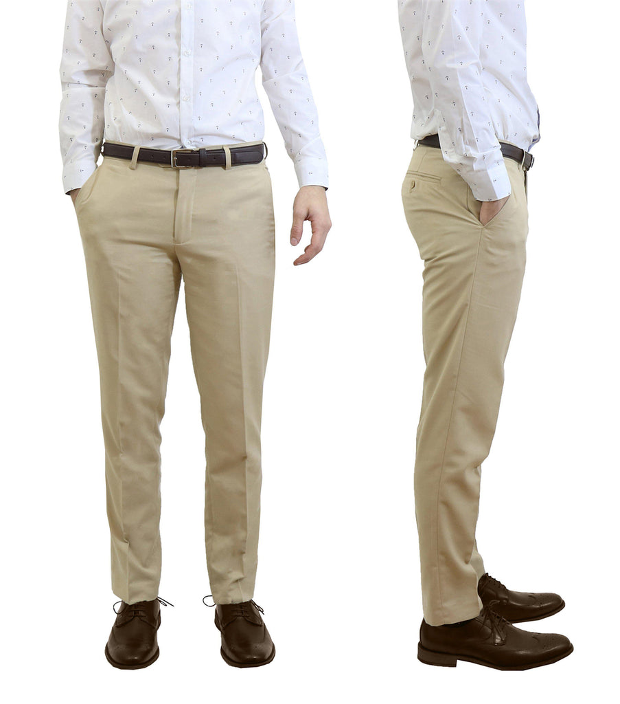 Daily Steals-Men's Flat Front Slim Fit Belted Dress Pants-Men's Apparel-Khaki-30x30-