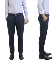 Daily Steals-Men's Flat Front Slim Fit Belted Dress Pants-Men's Apparel-Navy-30x30-