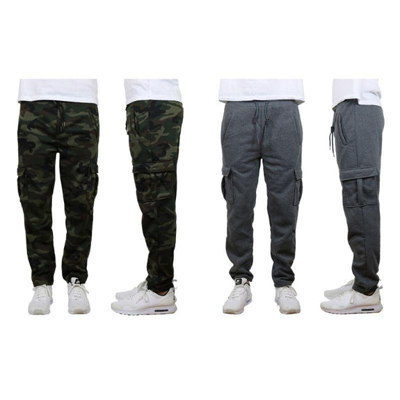 Men's Fleece Drawstring Cargo Sweatpants With Open Bottom - 2 Pack-Woodland Camo & Charcoal-S-