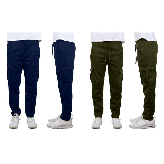 Men's Fleece Drawstring Cargo Sweatpants With Open Bottom - 2 Pack-Navy & Olive-L-