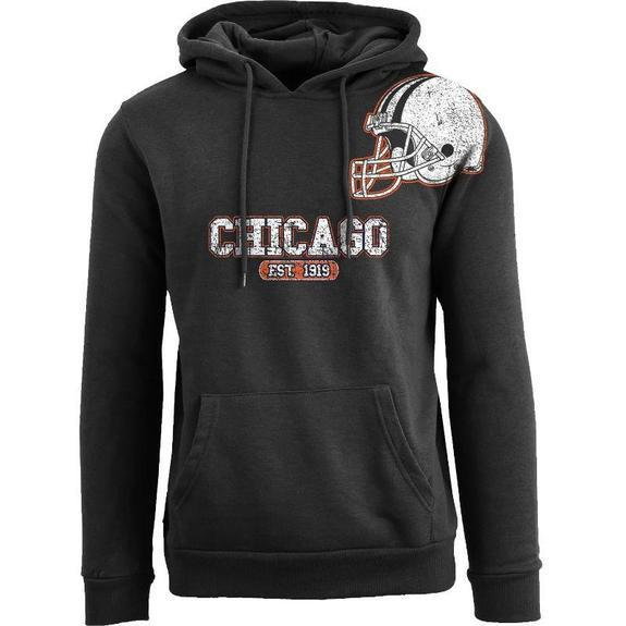 Daily Steals-Men's Football Helmet Pull Over Hoodie-Men's Apparel-S-Chicago - Black-