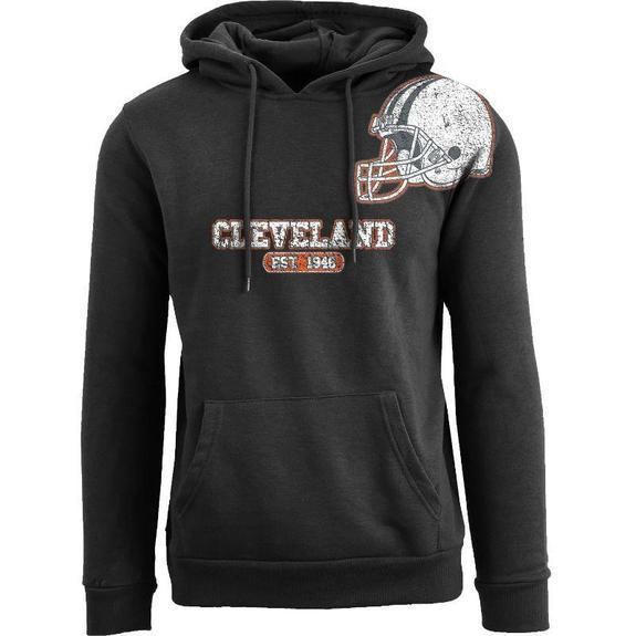Daily Steals-Men's Football Helmet Pull Over Hoodie-Men's Apparel-S-Cleveland - Black-