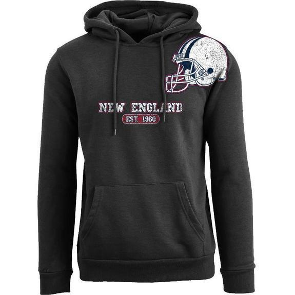 Daily Steals-Men's Football Helmet Pull Over Hoodie-Men's Apparel-S-New England - Black-
