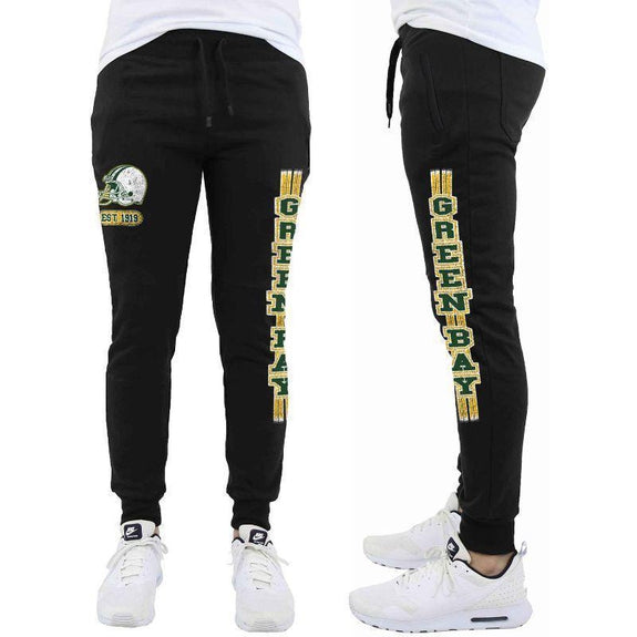 Daily Steals-Men's Football Team Jogger Drawstring Sweatpants-Men's Apparel-2XL-Green Bay - Black-