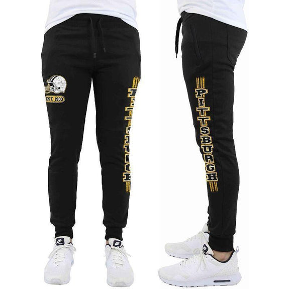 Daily Steals-Men's Football Team Jogger Drawstring Sweatpants-Men's Apparel-M-Pittsburgh - Black-