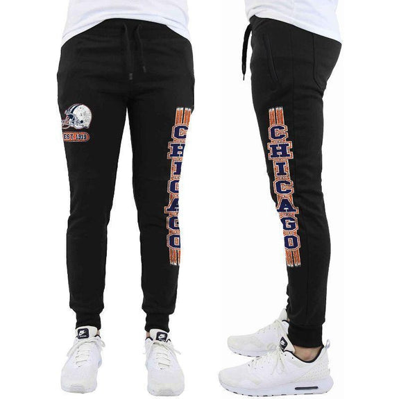 Daily Steals-Men's Football Team Jogger Drawstring Sweatpants-Men's Apparel-S-Chicago - Black-