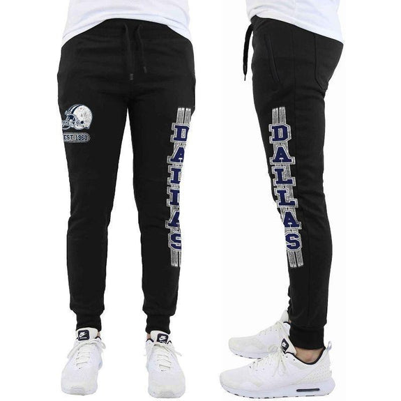 Daily Steals-Men's Football Team Jogger Drawstring Sweatpants-Men's Apparel-S-Dallas - Black-