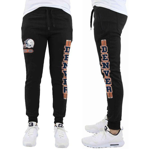 Daily Steals-Men's Football Team Jogger Drawstring Sweatpants-Men's Apparel-S-Denver - Black-