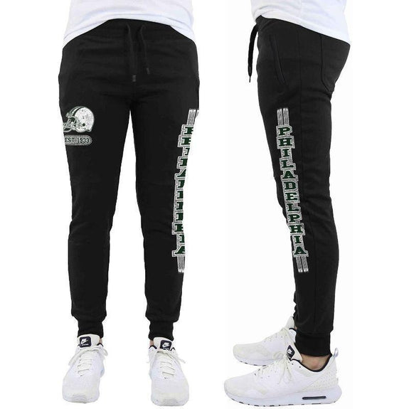 Daily Steals-Men's Football Team Jogger Drawstring Sweatpants-Men's Apparel-S-Philadelphia - Black-