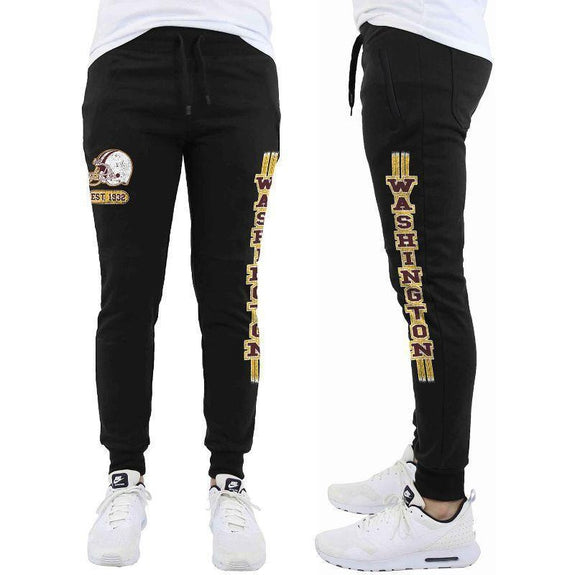 Daily Steals-Men's Football Team Jogger Drawstring Sweatpants-Men's Apparel-S-Washington - Black-
