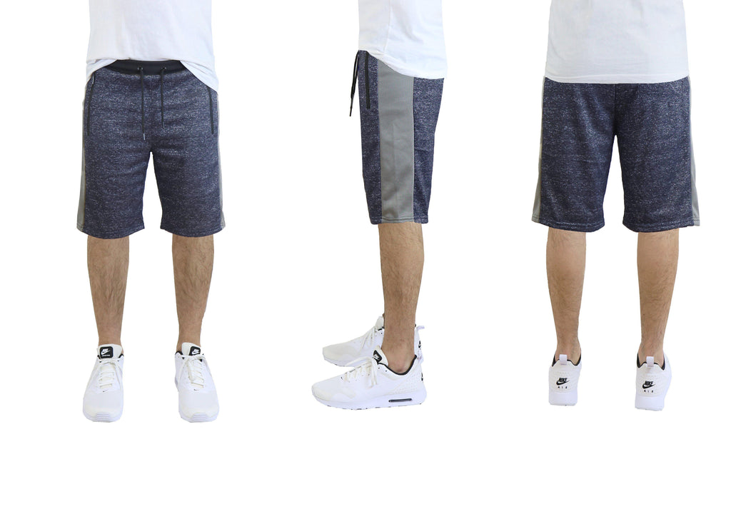 Daily Steals-Men's French Terry Shorts, Zipper Side Pockets, Contrast Trim-Men's Apparel-Navy-S-