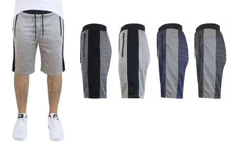 Daily Steals-Men's French Terry Shorts, Zipper Side Pockets, Contrast Trim-Men's Apparel-Black-S-