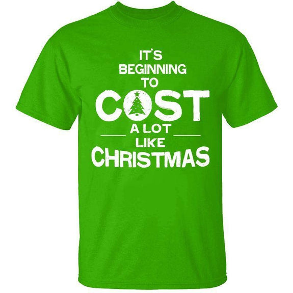 Men's Funny Dad Christmas T-Shirts-S-Cost A Lot Like Christmas - Kelly Green-Daily Steals