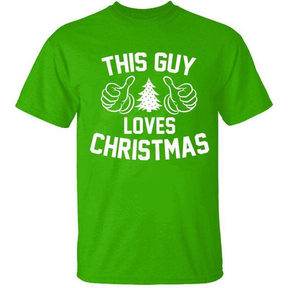 Men's Funny Dad Christmas T-Shirts-S-This Guy Loves Christmas - Kelly Green-Daily Steals