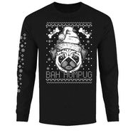 Men's Funny Ugly Christmas Sweater Long Sleeve Shirts-Bah Humpug - Black-S-Daily Steals