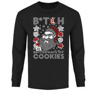 Men's Funny Ugly Christmas Sweater Long Sleeve Shirts-B*tch Better Have My Cookies - Black-S-Daily Steals