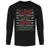 Men's Funny Ugly Christmas Sweater Long Sleeve Shirts-Dad The Man The Myth The Legend - Black-2XL-Daily Steals