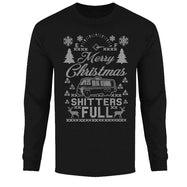 Men's Funny Ugly Christmas Sweater Long Sleeve Shirts-Merry Christmas Shitters Full - Black-L-Daily Steals