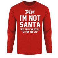 Men's Funny Ugly Christmas Sweater Long Sleeve Shirts-Not Santa But Sit on My Lap - Red-M-Daily Steals