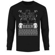 Men's Funny Ugly Christmas Sweater Long Sleeve Shirts-Wonderful Time for A Beer - Black-XL-Daily Steals