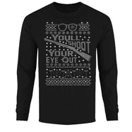 Men's Funny Ugly Christmas Sweater Long Sleeve Shirts-You'll Shoot Your Eye Out - Black-XL-Daily Steals