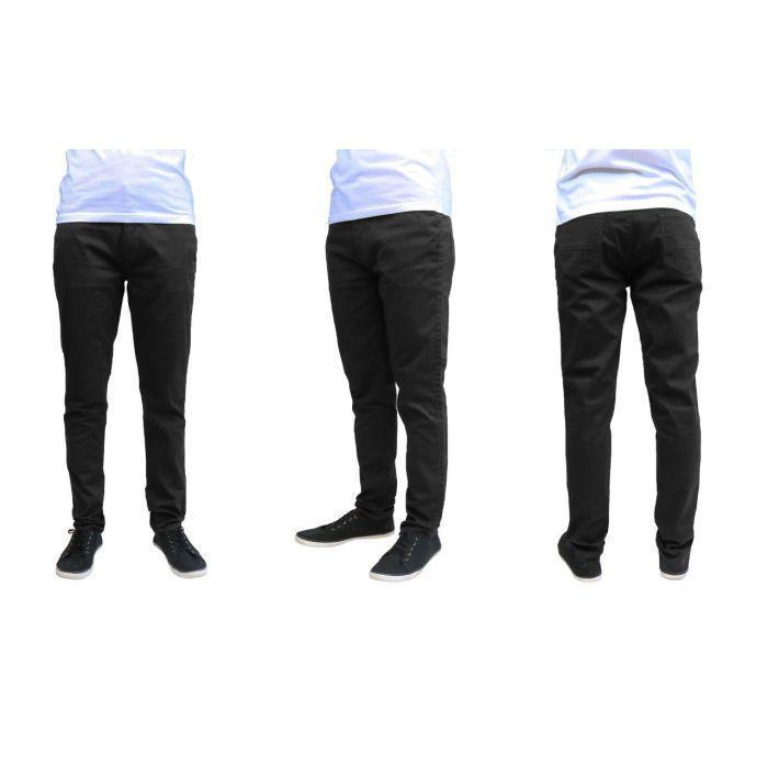 Daily Steals-Men's Galaxy By Harvic Slim Fit Cotton Stretch Chino Pants-Men's Apparel-Black-30x30-