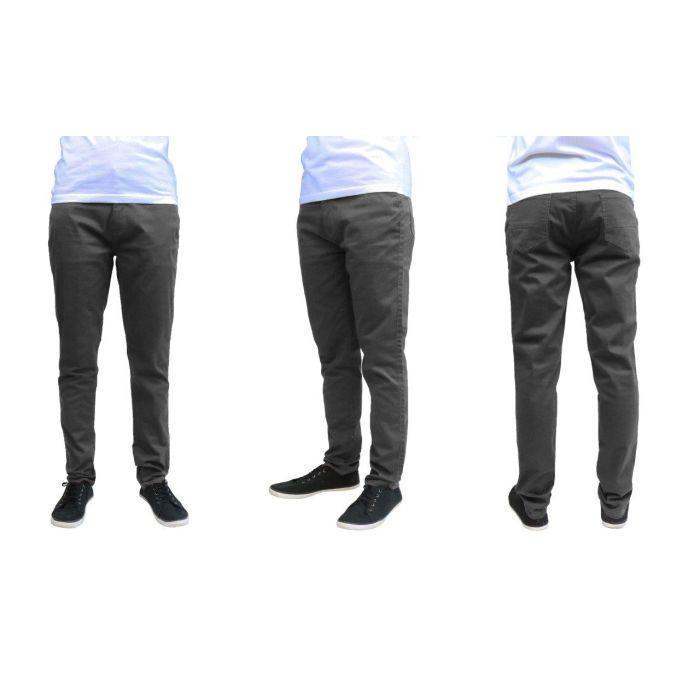 Daily Steals-Men's Galaxy By Harvic Slim Fit Cotton Stretch Chino Pants-Men's Apparel-Dark Grey-30x30-