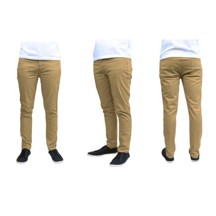 Daily Steals-Men's Galaxy By Harvic Slim Fit Cotton Stretch Chino Pants-Men's Apparel-Khaki-30x30-