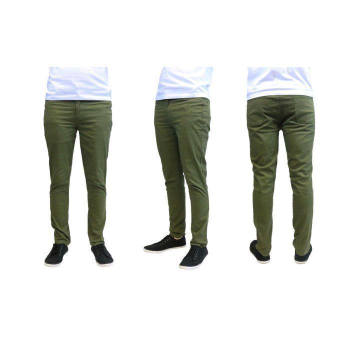 Daily Steals-Pantalon Chino Slim Fit en coton stretch pour homme Galaxy By Harvic-Vêtements pour hommes-Olive-30x30-