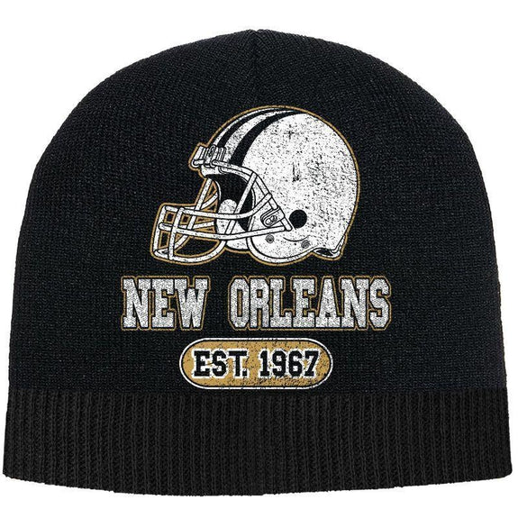 Men's Game Day Football Beanies Winter Hat-New Orleans - Black-