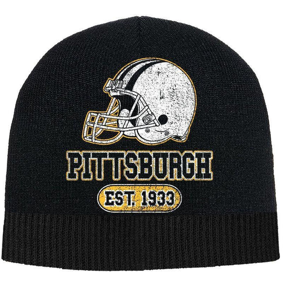 Men's Game Day Football Beanies Winter Hat-Pittsburgh - Black-