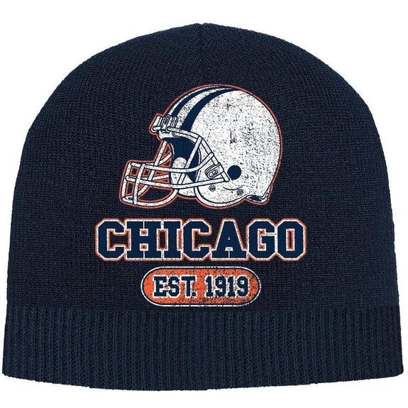 Men's Game Day Football Beanies Winter Hat-Chicago - Navy-