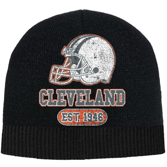 Men's Game Day Football Beanies Winter Hat-Cleveland - Black-