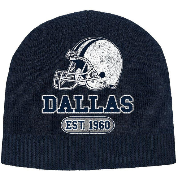 Men's Game Day Football Beanies Winter Hat-Dallas - Navy-