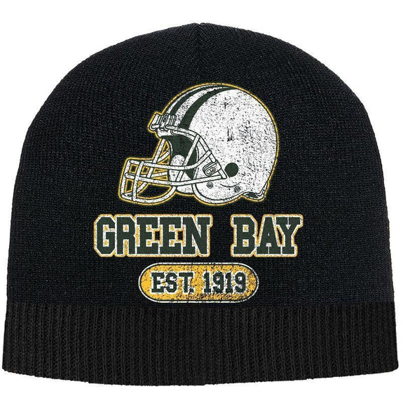 Men's Game Day Football Beanies Winter Hat-Green Bay - Black-