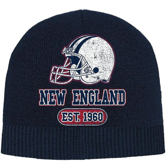Men's Game Day Football Beanies Winter Hat-New England - Navy-