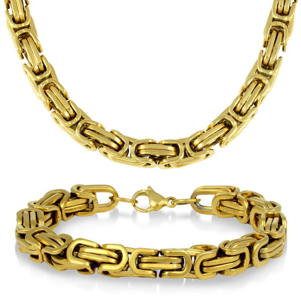 Daily Steals-Men's Gold Plated Stainless Steel Byzantine Necklace and Bracelet Set-Jewelry-